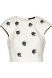 Nuage cropped embellished cotton top at The Outnet