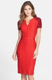 Nue by Shani Colorblock Ribbed Sheath Dress in Red at Nordstrom