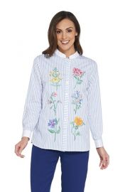OB MACKIE FLORAL EMBROIDERED BUTTON FRONT shirt at QVC