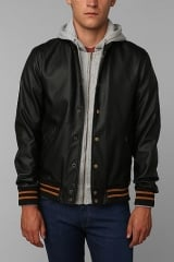 OBEY Faux-Leather Varsity Jacket at Urban Outfitters