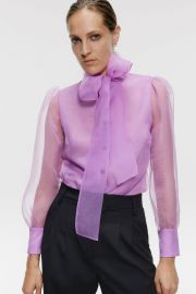ORGANZA BLOUSE WITH BOW DETAIL at Zara