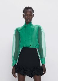 ORGANZA BLOUSE WITH TIE at Zara