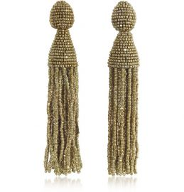 OSCAR DE LA RENTA CLASSIC LONG TASSEL CLIP-ON EARRINGS at Forzieri