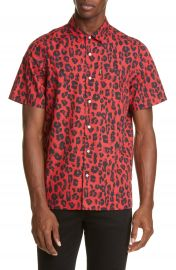 OVADIA  amp  SONS Red Leopard Short Sleeve Button-Up Shirt   Nordstrom at Nordstrom