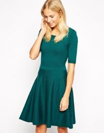 Oasis  Oasis Ripple Stitch Fit And Flare Dress at Asos