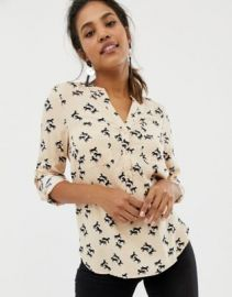 Oasis collarless shirt with pocket detail in horse print at asos com at Asos