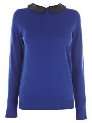 Oasis jumper with faux leather collar at Oasis