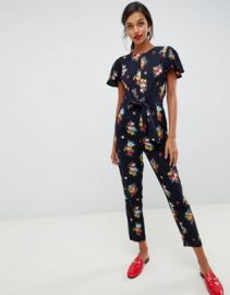 Oasis jumpsuit with ruffle cap sleeves in floral print at asos com at Asos