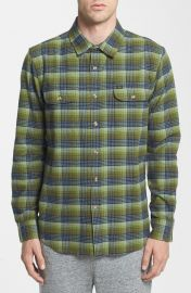 Obey Collins Plaid Flannel Shirt in Green at Nordstrom