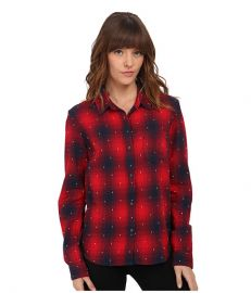 Obey Redwood Long Sleeve Button Down Red Multi at Zappos