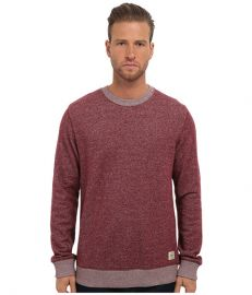 Obey Reid Crew Neck Fleece Heather Burgundy at 6pm