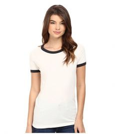 Obey Sold Out Ringer Tee Cr  me Black at Zappos