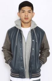 Obey Varsity Hooded Leather Jacket in Blue and Grey  REVOLVE at Revolve