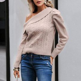 Off Shoulder Cable Knit Sweater at Sonja