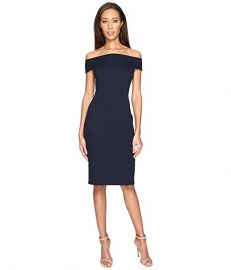 Off Shoulder Color Block Fitted Dress by Adrianna Papell at 6pm