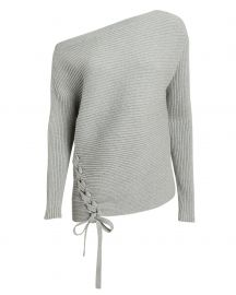 Off Shoulder Lace-Up Sweater at Intermix
