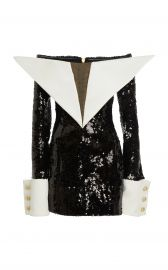 Off-The-Shoulder Sequin Satin Dress by Balmain at Moda Operandi