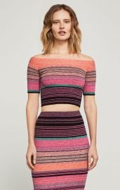 Off-The-Shoulder Striped Crop Top at BCBGMAXZRIA