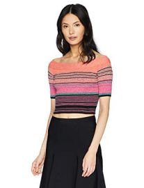 Off The Shoulder Striped Crop Top at Amazon