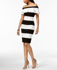 Off-The-Shoulder Striped Dress by Adrianna Papell at Macys