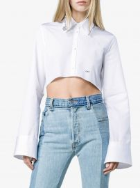 Off-White Cropped Button Down Cotton Shirt - Farfetch at Farfetch