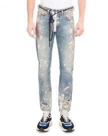 Off-White Diagonal Arrows Slim Vintage Paint Jeans   Neiman Marcus at Neiman Marcus