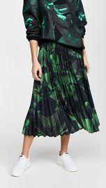 Off-White Green Brushstroke Plisse Skirt at Shopbop