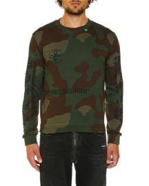 Off-White Men  x27 s Camo Diagonal-Arrows Sweatshirt at Neiman Marcus