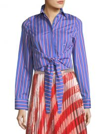 Off-White Pinstripe Ruffle-Back Tie-Front Shirt   Neiman Marcus at Neiman Marcus