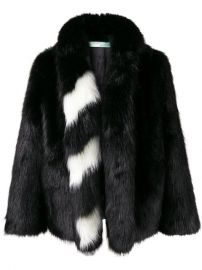 Off-White Striped Collar Fur Jacket - Farfetch at Farfetch