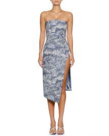 Off-White Tapestry Strapless Side-Split Midi Dress at Neiman Marcus