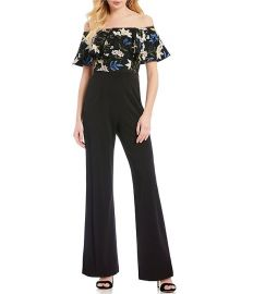 Off-the-Shoulder Floral Embroidered Popover Jumpsuit by Adrianna Papell at Dillards