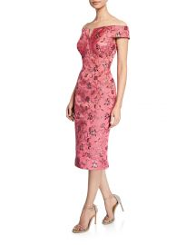 Off-the-Shoulder Jacquard Dress at Neiman Marcus