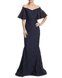 Off-the-Shoulder Lace Mermaid Gown by Rickie Freeman for Teri Jon at Neiman Marcus