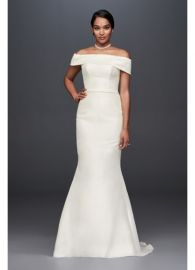 Off-the-Shoulder Mikado Trumpet Wedding Dress at Davids Bridal