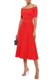 Off-the-Shoulder Pointelle-Trimmed Stretch-Knit Midi Dress by Lela Rose at The Outnet