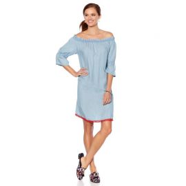 Off-the-Shoulder Pom Pom Dress by Wendy Williams at HSN