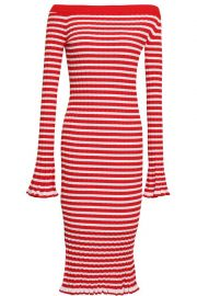 Off-the-Shoulder Striped Ribbed-Knit Dress by Caroline Constas  at The Outnet