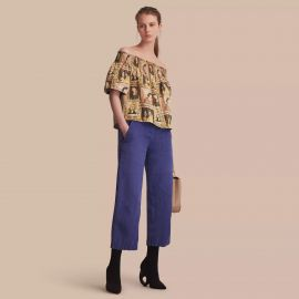 Off-the-shoulder Framed Heads Print Cotton Top by Burberry at Burberry