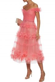Off-the-shoulder floral-appliquéd pleated tulle gown at The Outnet