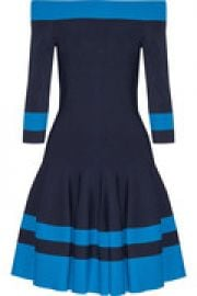 Off-the-shoulder pleated stretch-knit mini dress at The Outnet