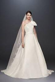 Oleg Cassini Bow-Shoulder Mikado Wedding Dress at Davids Bridal