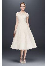 Oleg Cassini Cap Sleeve Illusion Wedding Dress at Davids Bridal