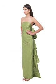 Olive Back Bow Pencil Gown by Bambah at Bambah