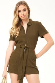 Olive Green Zip Romper by Forever 21 at Forever 21