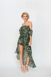 Olive Off Shoulder Romper Dress at Brandi Land