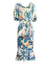 Olivia Begonia Floral Midi Dress at Intermix