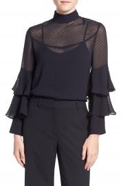 Olivia Palermo   Chelsea28 Tiered Sleeve Silk Top at Nordstrom
