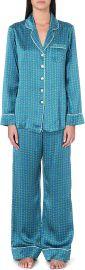 Olivia Von Halle - Printed Silk Pajama Set in Valentina at Saks Fifth Avenue