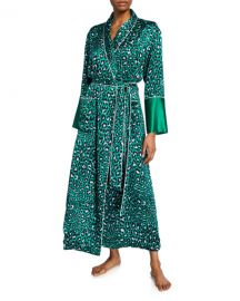 Olivia Von Halle Capability Danger Leopard-Print Long Silk Robe at Neiman Marcus